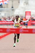 Eliud Kipchoge (Kenya) wins the Men's Elite race in the Virgin Money 2019 London Marathon, London, United Kingdom on 28 April 2019.