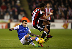 Ross Wallace of Sheffield Wednesday tackles George Baldock of Sheffield United - Mandatory by-line: Robbie Stephenson/JMP - 12/01/2018 - FOOTBALL - Bramall Lane - Sheffield, England - Sheffield United v Sheffield Wednesday - Sky Bet Championship