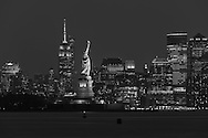 USA, New York, Manhattan, Skyline with Statue of Liberty