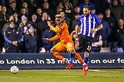 Sheffield Wednesday forward Atdhe Nuhiu (17) brings down Luton Town forward Kazenga LuaLua (25)  during the The FA Cup 3rd round replay match between Luton Town and Sheffield Wednesday at Kenilworth Road, Luton, England on 15 January 2019.