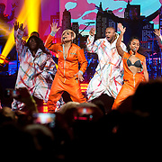 January 30, 2013 - New York, NY : At center in orange suits, from left, TLC's Tionne 'T-Boz' Watkins and Rozonda 'Chilli' Thomas perform with backup dancers as part of VH1 Super Bowl Blitz at the Beacon Theatre in Manhattan on Thursday night. CREDIT: Karsten Moran for The New York Times