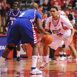 Jan 31, 2009; Piscataway, NJ, USA; Rutgers guard Mike Rosario (3) defends against DePaul guard Jabari Currie (1) during the second half of Rutgers' 75-56 victory over DePaul in NCAA college basketball at the Louis Brown Athletic Center
