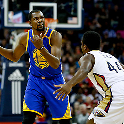Dec 13, 2016; New Orleans, LA, USA;  Golden State Warriors forward Kevin Durant (35) is defended by New Orleans Pelicans forward Solomon Hill (44) during the first quarter of a game at the Smoothie King Center. Mandatory Credit: Derick E. Hingle-USA TODAY Sports