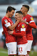 Conor Chaplin of Barnsley FC celebrating his team's second goal during the EFL Sky Bet Championship match between Barnsley and Queens Park Rangers at Oakwell, Barnsley, England on 14 December 2019.