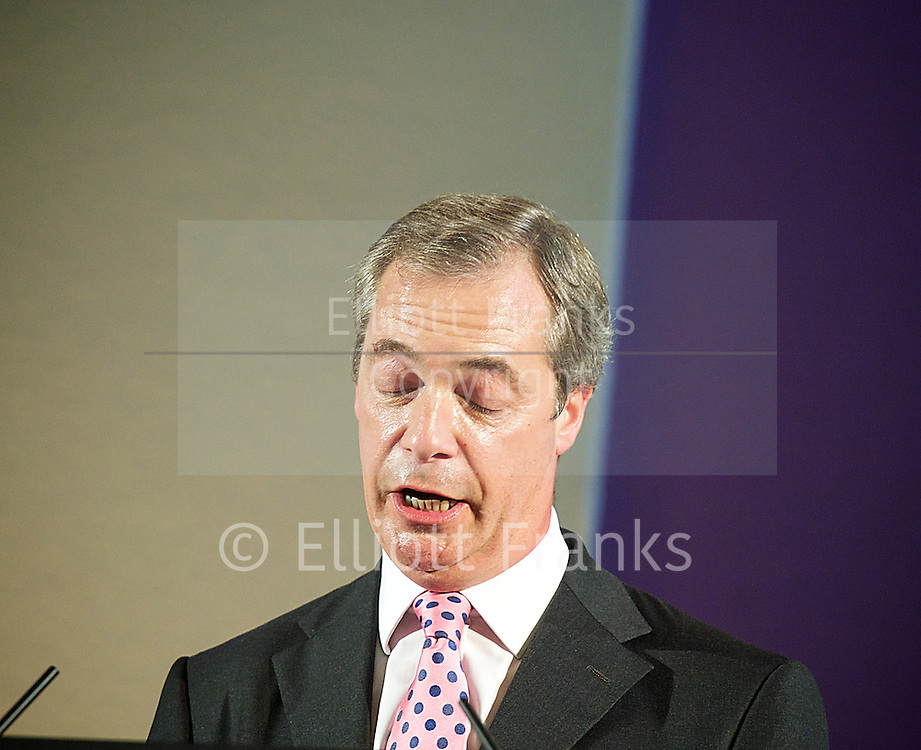 UKIP Party Conference<br /> at Central Hall Westminster, London, Great Britain <br /> 20th September 2013 <br /> <br /> <br /> 20th Anniversary conference <br /> <br /> Party leader<br /> Nigel Farage <br /> Member of the European Parliament<br /> for South East England<br /> keynote speech <br /> <br /> <br /> Photograph by Elliott Franks