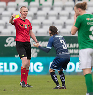 FODBOLD: Frederik Bay (FC Helsingør) får advarsel af dommer Henrik Overgaard under kampen i NordicBet Ligaen mellem Viborg FF og FC Helsingør den 24. marts 2019 på Energi Viborg Arena. Foto: Claus Birch