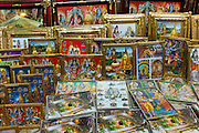 Religious pictures of Lord Shiva and wife Parwati on sale at stall by the Golden Temple in holy city of Varanasi, India