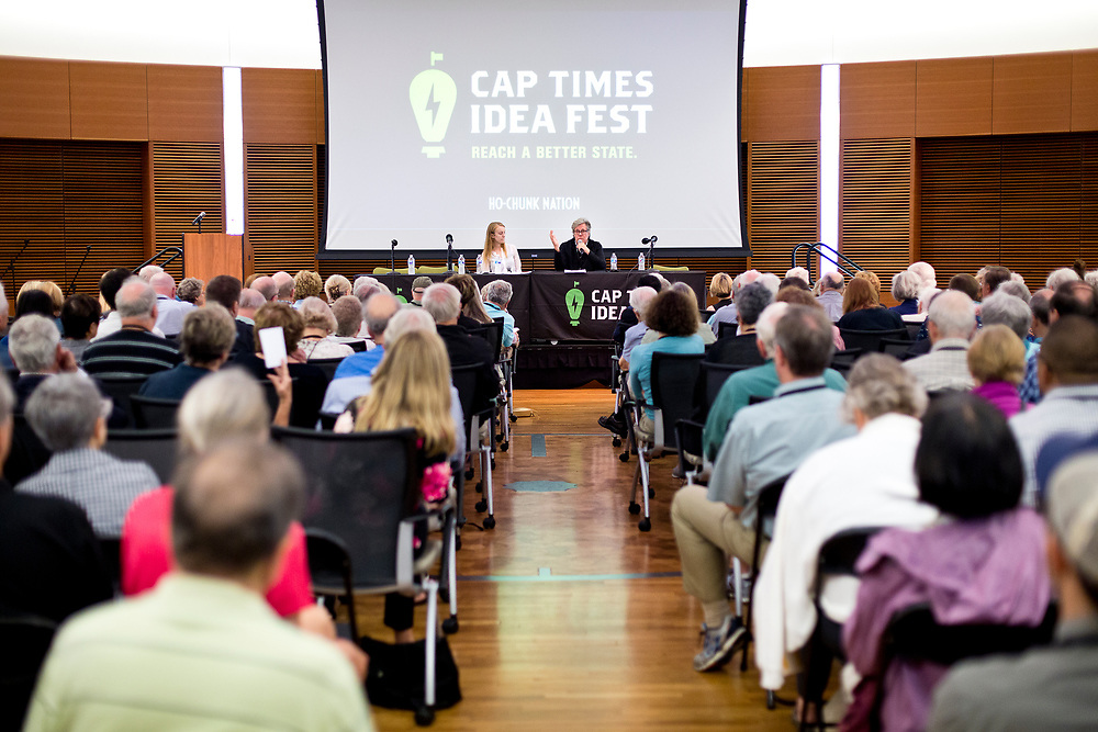 """Washington Post journalist David Maraniss is interviewed by Lisa Speckhard Pasque on the discussion """"From McCarthy to Trump: The echoes of history"""" at the Cap Times 2017 Idea Fest, Sunday, September 17, 2017"""
