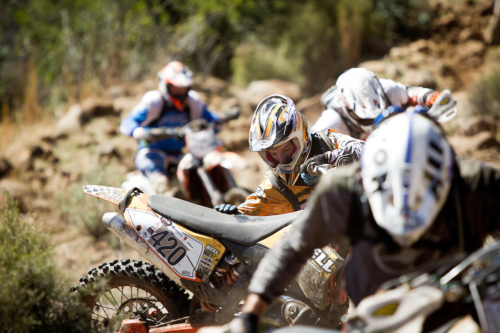 Carl Donaldson tries to keep his bike upright during the 44th running of the Roof of Africa enduro held in Lesotho.