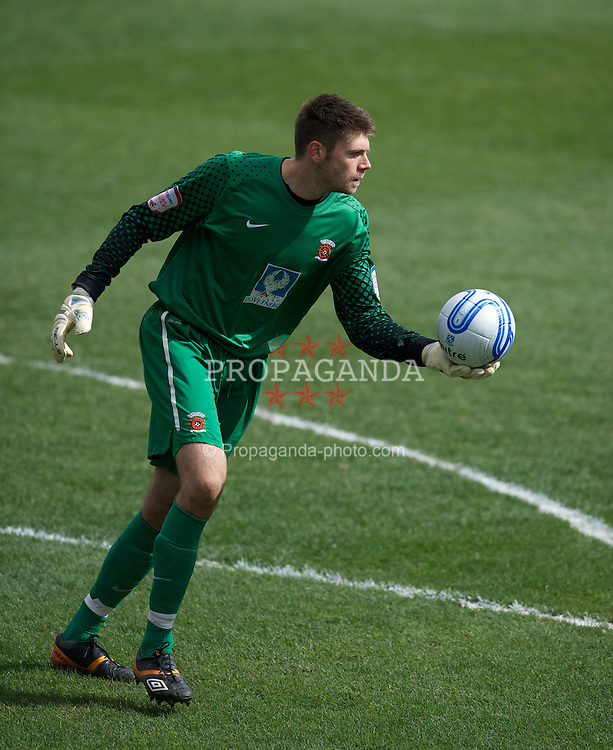 BIRKENHEAD, ENGLAND - Saturday, April 21, 2012: Hartlepool United's goalkeeper Scott Flinders in action against Tranmere Rovers during the Football League One match at Prenton Park. (Pic by David Rawcliffe/Propaganda)