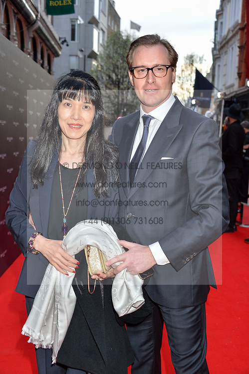 MD of Bulgari UK VINCENT REYNES and his wife at the launch of the new Bulgari flagship store at 168 New Bond Street, London on 14th April 2016.