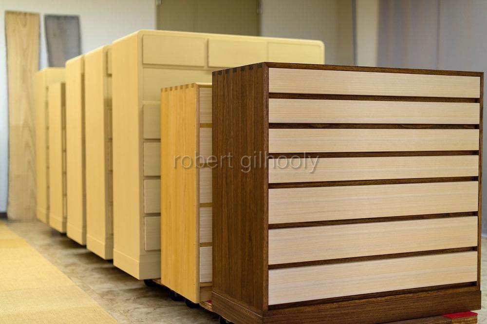 Photo shows the front of completed kiri-tansu furniture at Kamo Kiri-tansu maker Asakura Kagu in Niigata City, Niigata Prefecture Japan on Feb. 21, 2017. ROB GILHOOLY PHOTO