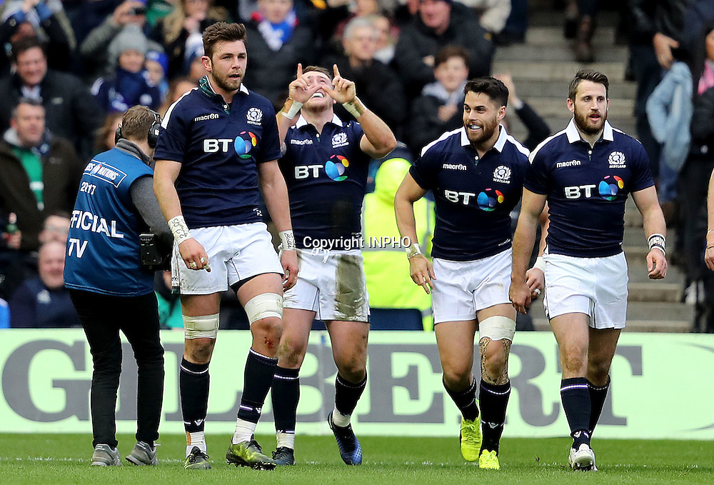 RBS 6 Nations Championship Round 1, BT Murrayfield, Scotland 4/2/2017<br /> Scotland vs Ireland<br /> Stuart Hogg of Scotland celebrates scoring his second try <br /> Mandatory Credit &copy;INPHO/Dan Sheridan