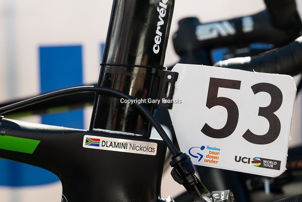 Nicolas Dlamini's bike number at the start of Stage 3, Glenelg to Victor Harbor, of the Tour Down Under, Australia on the 18 of January 2018 ( Credit Image: © Gary Francis / ZUMA WIRE SERVICE )