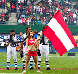 15.07.2011, Ernst Happel Stadion, Wien, AUT, American Football WM 2011, Austria (AUT) vs Australia (AUS), im Bild cheerleader with austrian flag // during the American Football World Championship 2011 game, Austria vs Australia, at Ernst Happel Stadion, Wien, 2011-07-15, EXPA Pictures © 2011, PhotoCredit: EXPA/ T. Haumer