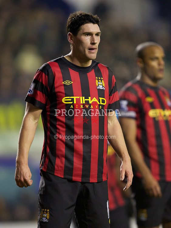 LIVERPOOL, ENGLAND - Tuesday, January 31, 2012: Manchester City's Gareth Barry in action against Everton during the Premiership match at Goodison Park. (Pic by Vegard Grott/Propaganda)