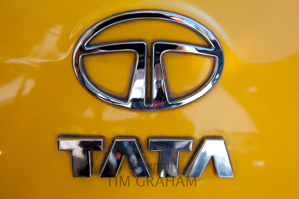 TATA logo on Nano car in Mumbai, India, where signs of the thriving Indian economy are evident