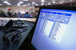 BRUSSELS, BELGIUM - NOV-29-2006 - A computer in the audio-video control room for the translation booths at the European Commission HQ press room, shows the various audio language translations available to journalists and other attendees, during a press conference.  (PHOTO © JOCK FISTICK)<br />