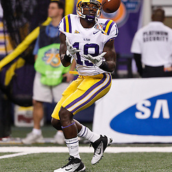 Jan 7, 2011; Arlington, TX, USA; LSU Tigers tight end Deangelo Peterson (19)  during warm ups prior to kickoff of the 2011 Cotton Bowl against the Texas A&M Aggies at Cowboys Stadium. LSU defeated Texas A&M 41-24.  Mandatory Credit: Derick E. Hingle