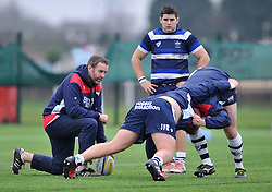 Bristol Academy forwards coach Mark Irish watches his players warm-up - Mandatory by-line: Paul Knight/JMP - 07/01/2017 - RUGBY - SGS Wise Campus - Bristol, England - Bristol Academy U18 v Exeter Chiefs U18 - Premiership U18 League