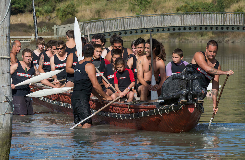 The Waka is launched for it's role at the Waitangi Day Commemorations, Okains Bay, Banks Peninsula, New Zealand, Thursday, 6 February, 2014.  <br /> Credit:SNPA / David Alexander