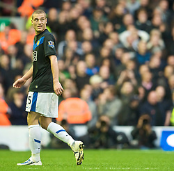LIVERPOOL, ENGLAND - Sunday, October 25, 2009: Manchester United's Nemanja Vidic walks off dejected after being sent off during the Premiership match against Liverpool at Anfield. (Photo by David Rawcliffe/Propaganda)
