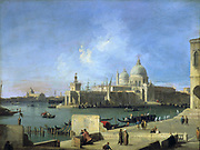 View of the Salute from the Entrance to the Grand Canal' Venice, 1727-1728, oil on canvas by Giovanni Antonio Canal known as Canaletto (1697-1768) Venetian painter.  Church of Santa Maria della Salute, building completed  in 1682.