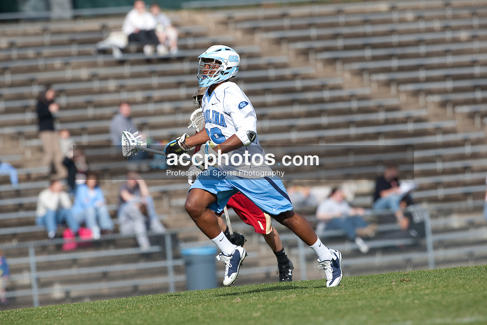 14 February 2009: North Carolina Tar Heels defenseman Milton Lyles (29) during a 20-7 win over the Denver Pioneers on Fetzer Field in Chapel Hill, NC.