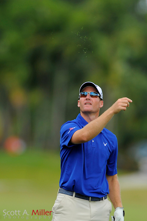 Garth Mulroy checks the wind during the final round of the World Golf Championship Cadillac Championship on the TPC Blue Monster Course at Doral Golf Resort And Spa on March 11, 2012 in Doral, Fla. ..©2012 Scott A. Miller.