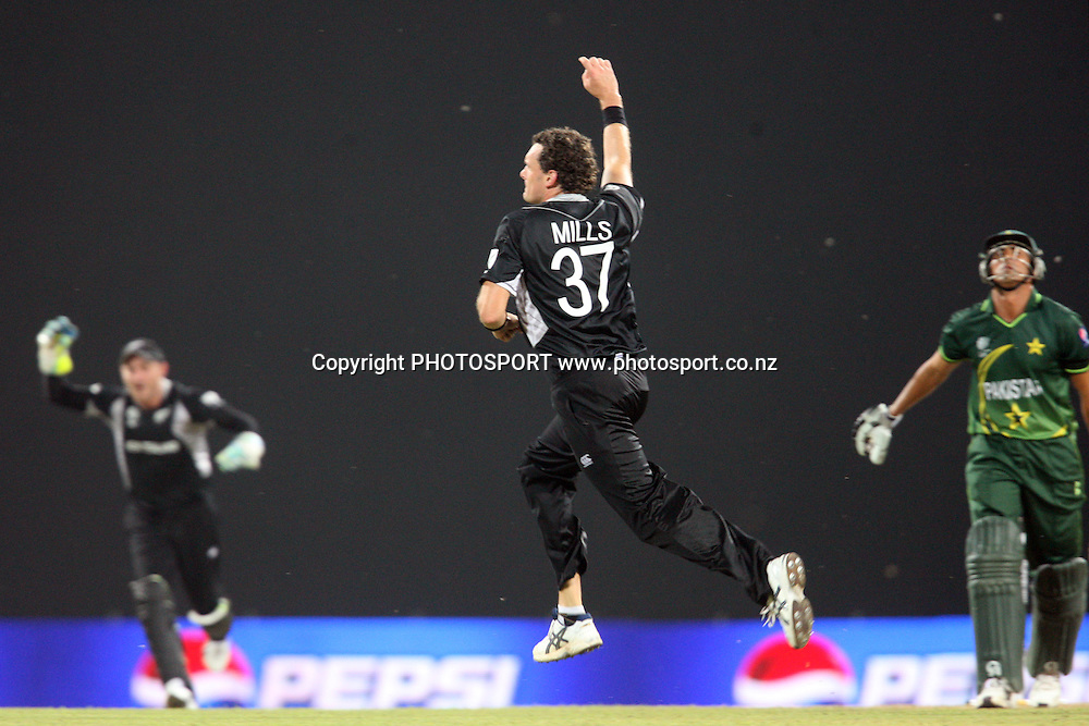 Kyle Mills celebrates a wicket. ICC Cricket World Cup. New Zealand vs Paksitan. Pallekele Cricket Stadium, Kandy, Sri Lanka. Tuesday 8 March 2011. Photo: photosport.co.nz