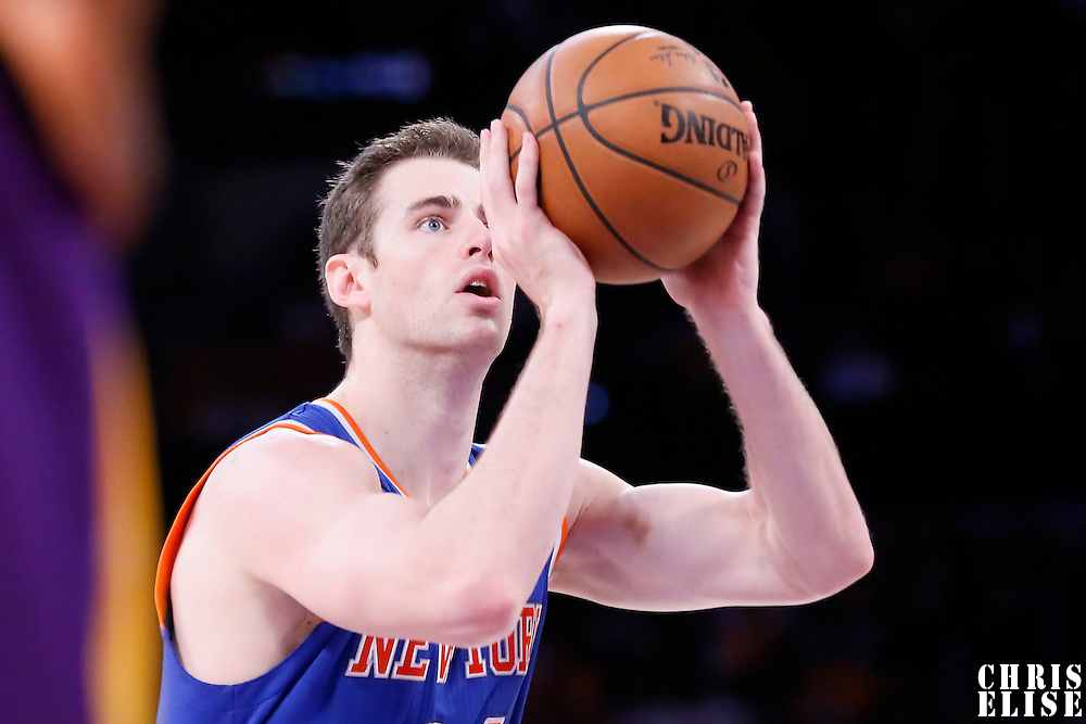 12 March 2015: New York Knicks forward Jason Smith (14) is seen at the free throw line during the New York Knicks 101-94 victory over the Los Angeles Lakers, at the Staples Center, Los Angeles, California, USA.