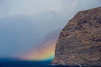 Acantilado de los Gigantes (Giant's cliffs) with the rainbow in the west side of Tenerife Island, Canary Islands, Spain.