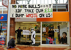 "© Licensed to London News Pictures. 21/10/2013.  Bridgwater, Somerset, UK.  Anti-nuclear protesters hang a banner and dump manure at the EDF Energy shop in Angel Place shopping centre in Bridgwater, with a sign in Chinese lettering which they say means ""No Nuclear Power"".  The UK Government today announced the go-ahead for a new nuclear power station at Hinkley Point C in Somerset, to be built by a consortium with French firm EDF Energy and Chinese investment for the first time in UK nuclear power generation.  A kneeling protester is clearing the manure off the main concourse of the shopping centre. 21October 2013.<br /> Photo credit : Simon Chapman/LNP"