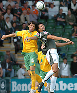 Plymouth -Saturday September 13th 2008:Rory Fallon of Plymouth Argyle and Dejan Stefanovicof Norwich City during the Coca Cola Championship match at Plymouth.(Pic by Tony Carney/Focus Images)