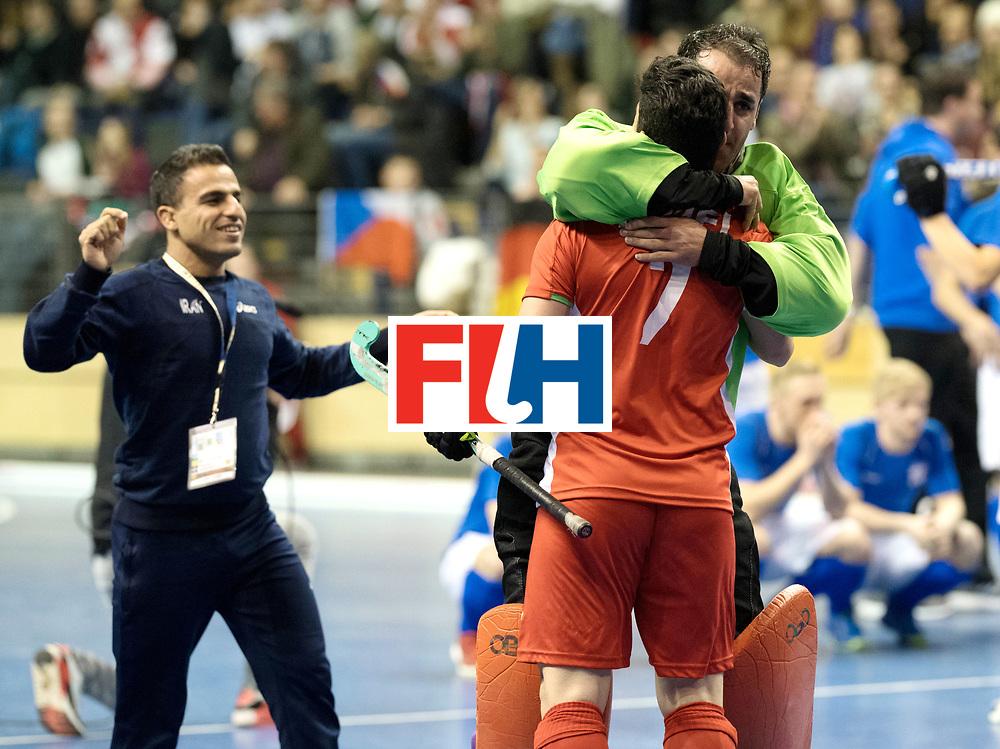 BERLIN - Indoor Hockey World Cup<br /> Quarterfinal 1: Iran - Czech Republic<br /> foto: Iran celebrates the win, CHAZANISHARAHI Alireza (GK).<br /> WORLDSPORTPICS COPYRIGHT FRANK UIJLENBROEK