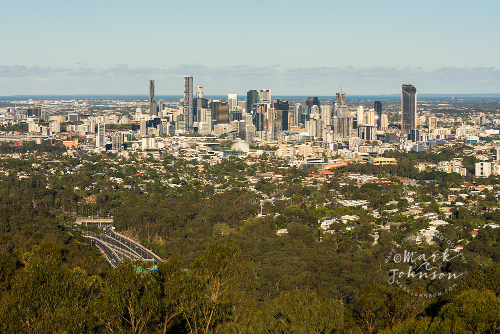 Brisbane city skyline from Mt Cootha viewpoint, Queensland, Australia