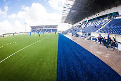 A landscape view of the new blue part of the plastic pitch at The Falkirk Stadium, for the Scottish Championship game v Morton. The woven GreenFields MX synthetic turf and the surface has been specifically designed for football with 50mm tufts compared with the longer 65mm which has been used for mixed football and rugby uses.  It is fully FFA two star compliant and conforms to rules laid out by the SPL and SFL.<br />