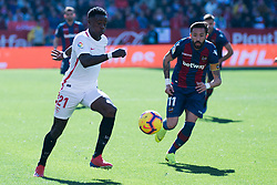 January 26, 2019 - Sevilla, Andalucia, Spain - Promes of Sevilla FC and Morales of Levante UD competes for the ball during the La Liga match between Sevilla FC v Levante UD at the Ramon Sanchez Pizjuan Stadium on January 26, 2019 in Sevilla, Spain  (Credit Image: © Javier MontañO/Pacific Press via ZUMA Wire)