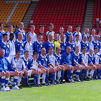 St Johnstone FC squad season 2000 / 01...13.7.2000.<br />From left,<br />BACK ROW; Craig Russell, David Dodds,Nick Dasovic, Mark Ferry, Darren Dods, Kevin Welsh, Kevin Cuthbert,  Scott   Findlay, Stephen Robertson, Alan Kernaghan, Stuart Malcolm, Graeme Jones, Brendan Crozier, Paul Kane.<br /><br />MIDDLE ROW, Jocky Peebles (physio), Alistair Stevenson (Youth Development Officer, Chris Conway, Paddy Connolly, Emmanuel Panther, Stephen Frail, David McClune, John Paul McBride, Kevin Thomas, Alan Main, Tommy Lovenkrands, Marc McCulloch,  Nathan McConnell, Gary Bollan, Barry Thompson, Stuart McClusky, Stephen McAllister,Scott Brown (physio).<br /><br />FRONT ROW; Atholl Henderson (SFA Community Officer), Nick Summersgill (Physio), Peter Lynch, Keigan Parker, David Noble, George O'Boyle, Martin Fotheringham, Jim Weir, Sandy Clark (manager), Nathan Lowndes, Ross Forsyth, Martin Lauchlan, Darren Kearney, Paul Hartley, Frazer Briggs, Billy Kirkwood(coach) Henry Hall (Youth Coach).<br /><br />Picture Copyright John Lindsay.<br />Perthshire Picture Agency<br />Tel: 01738 623350  Mobile: 07775 852112