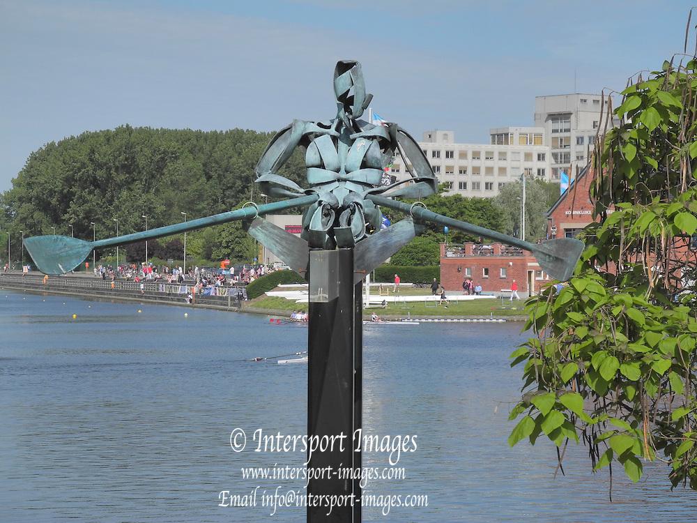 Ghent, BELGIUM. General Views, GV's, Single Sculler Sculpture {bronze} erected at the finish end of the Course,  Sunday  08/05/2011.   [Mandatory Credit; Peter Spurrier/Intersport-images]. 2011 Gent International Regatta.
