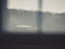 View through window of permanent exhibition on the history of Buchenwald concentration camp, KZ Buchenwald, Ettersberg, Weimar, Thueringen, Germany