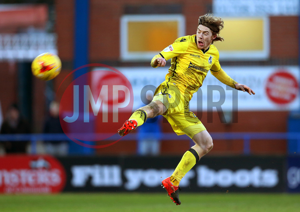 Luke James of Bristol Rovers jumps to block a clearance - Mandatory by-line: Matt McNulty/JMP - 04/02/2017 - FOOTBALL - Crown Oil Arena - Rochdale, England - Rochdale v Bristol Rovers - Sky Bet League One