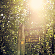 Sign entering the White Mountain National Forest in New Hampshire