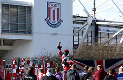 A general view of the Gordon Banks statue outside of the bet365 Stadium as fans pay tribute to the former Stoke City player