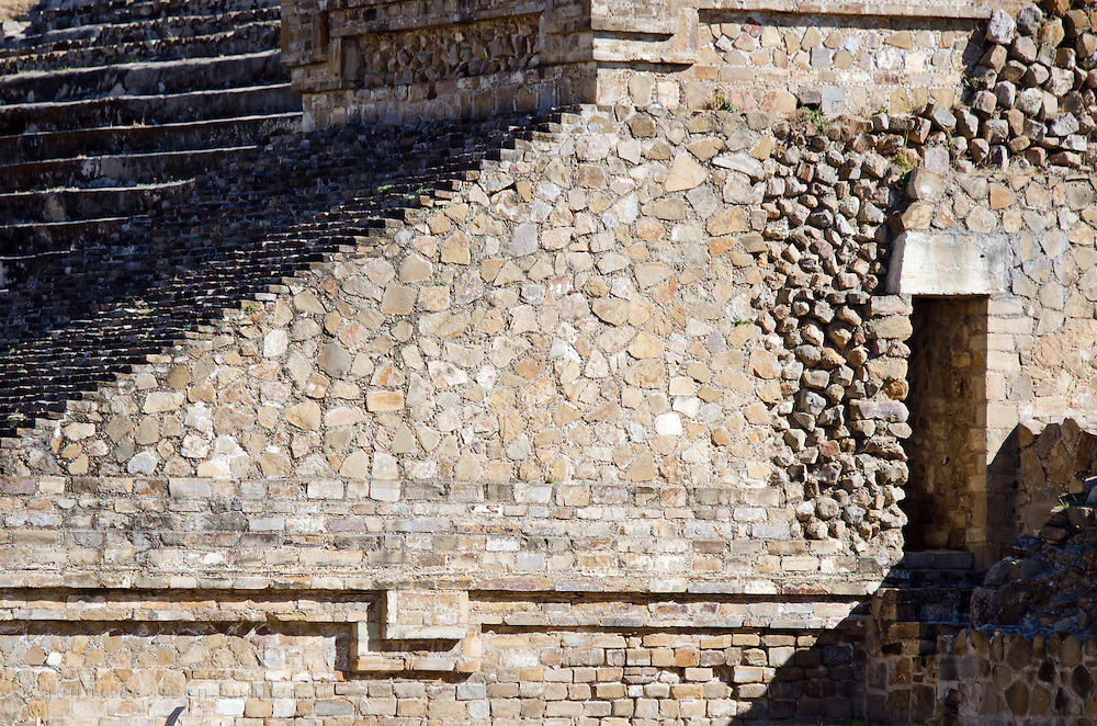 The west side of the monumental staircase to the South Platform at Monte Alban, a Zapotec ruin in Oaxaca, Mexico.