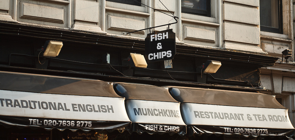 Fish and chips restaurant in north London, England.