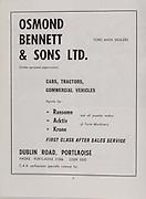 Osmond Bennett & Sons LTD, Dublin Road, Portlaoise,   Railway Cup Hurling Final. Munster v Leinster. Croke Park, Dublin. 17th March 1971. 17.03.1971.