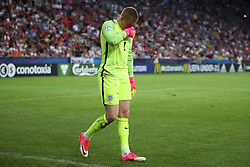England goalkeeper Jordan Pickford shows his dejection