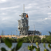 NASA's Space Shuttle Discovery sits on Launch Pad 33 at the Kennedy Space Center complex on Nov. 2, 2010, in Titusville, Florida. (AP Photo/Alex Menendez)
