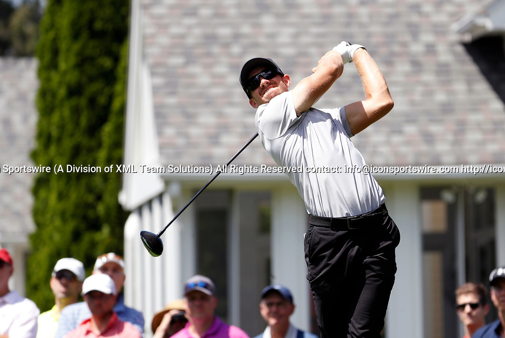 CROMWELL, CT - JUNE 24: Patrick Rodgers of the United States drives from the 6th tee during the third round of the Travelers Championship on June 24, 2017, at TPC River Highlands in Cromwell, Connecticut. (Photo by Fred Kfoury III/Icon Sportswire)